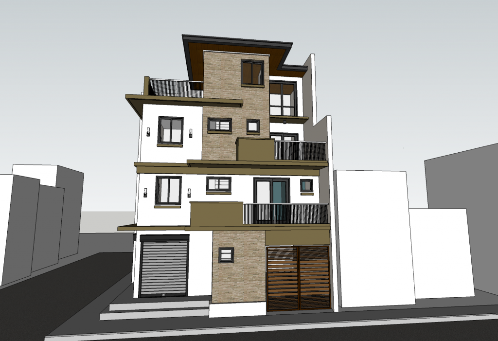 3 storey residential with roof deck j t construction for 2 storey house design with roof deck